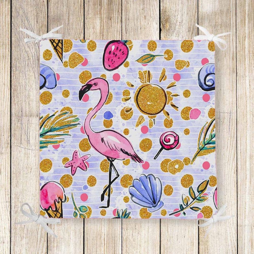 Else Pink Flamingo Summer Sea Shells 3d Print Chair Pad Seat Cushion Soft Memory Foam Full Lenght Ties Non Slip Washable Zipper