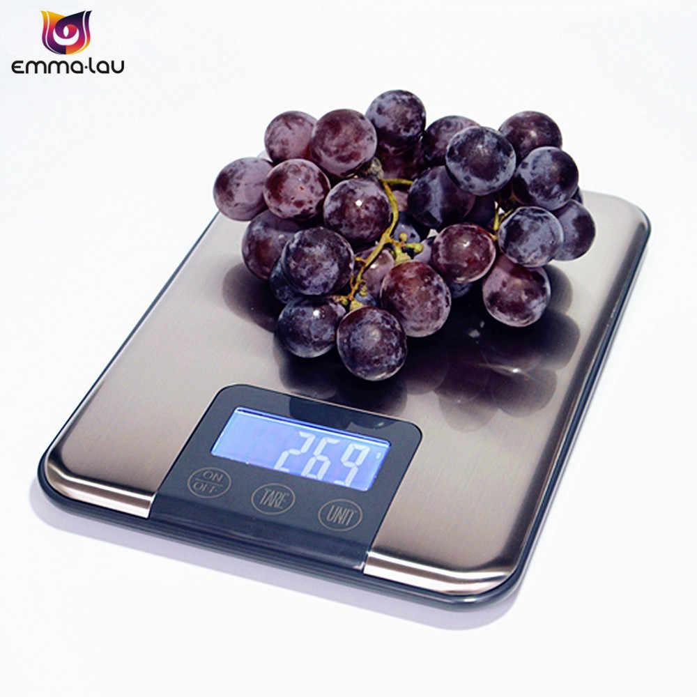 15 кг 1 г тонкий Нержавеющаясталь Кухня Весы цифровой Сенсорный экран Еда диета Вес баланс ЖК-дисплей электронный Детские весы