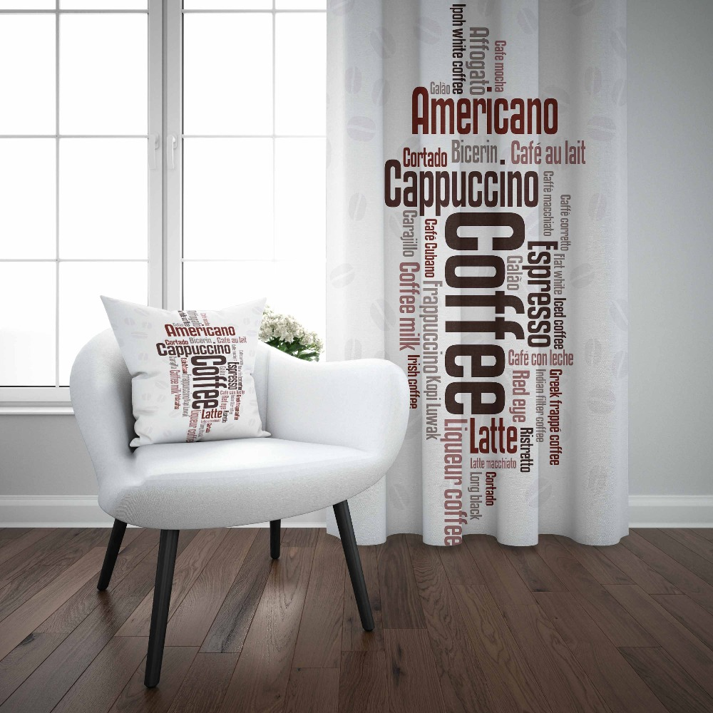 Else White Floor Brown Coffee Americano Writen 3d Print Living Room Kitchen Window Panel Set Curtain Combine Gift Pillow Case