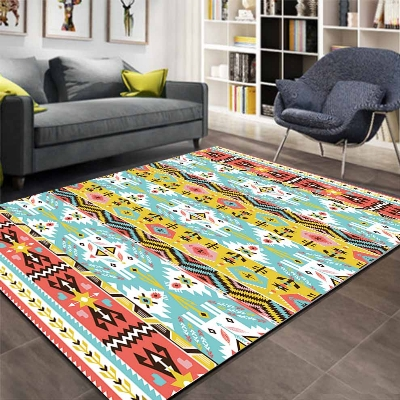 Else Aztec Ethnic Green Yellow Geometric 3d Print Non Slip Microfiber Living Room Decorative Modern Washable Area Rug Mat