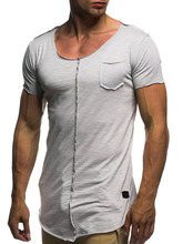 PADEGAO deep V neck t shirt men short sleeve slim fits cotton tees solid skinny bodybuilding sexy mens