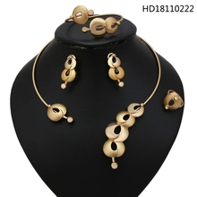 YULAILI Brand New Hot African Choker Necklace Jewellery Gold Color Alloy 4-pcs Jewelry Set for Ladies