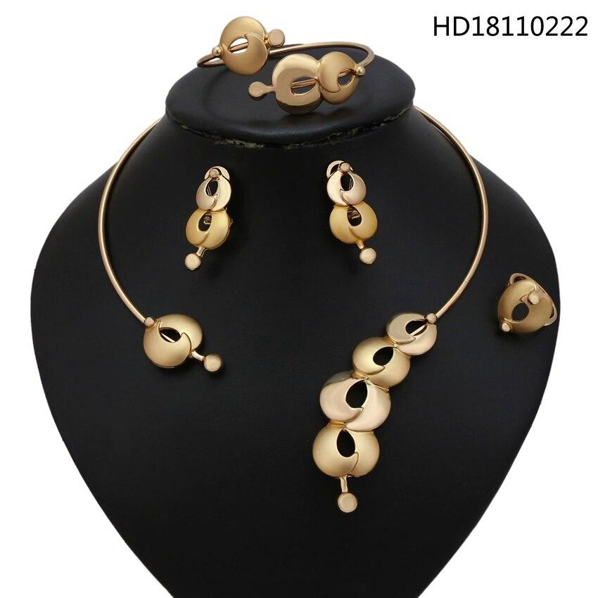 YULAILI tout nouveau collier ras du cou africain chaud bijoux couleur or alliage 4 pcs ensemble de bijoux pour dames