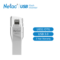 Netac USB Flash Drive For iphone 6 7 ipad MFI Pendrive 32G USB Stick 64GB Pen Drive USB 3.0 lightning Interface For PC Mini Pen