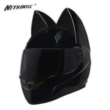NITRINOS Siyah Motosiklet Kask Kadın Capacete Moto Kask Boynuzları Kedi Kask Tam Yüz Kasko Casque Moto Yarış Motosiklet Kask