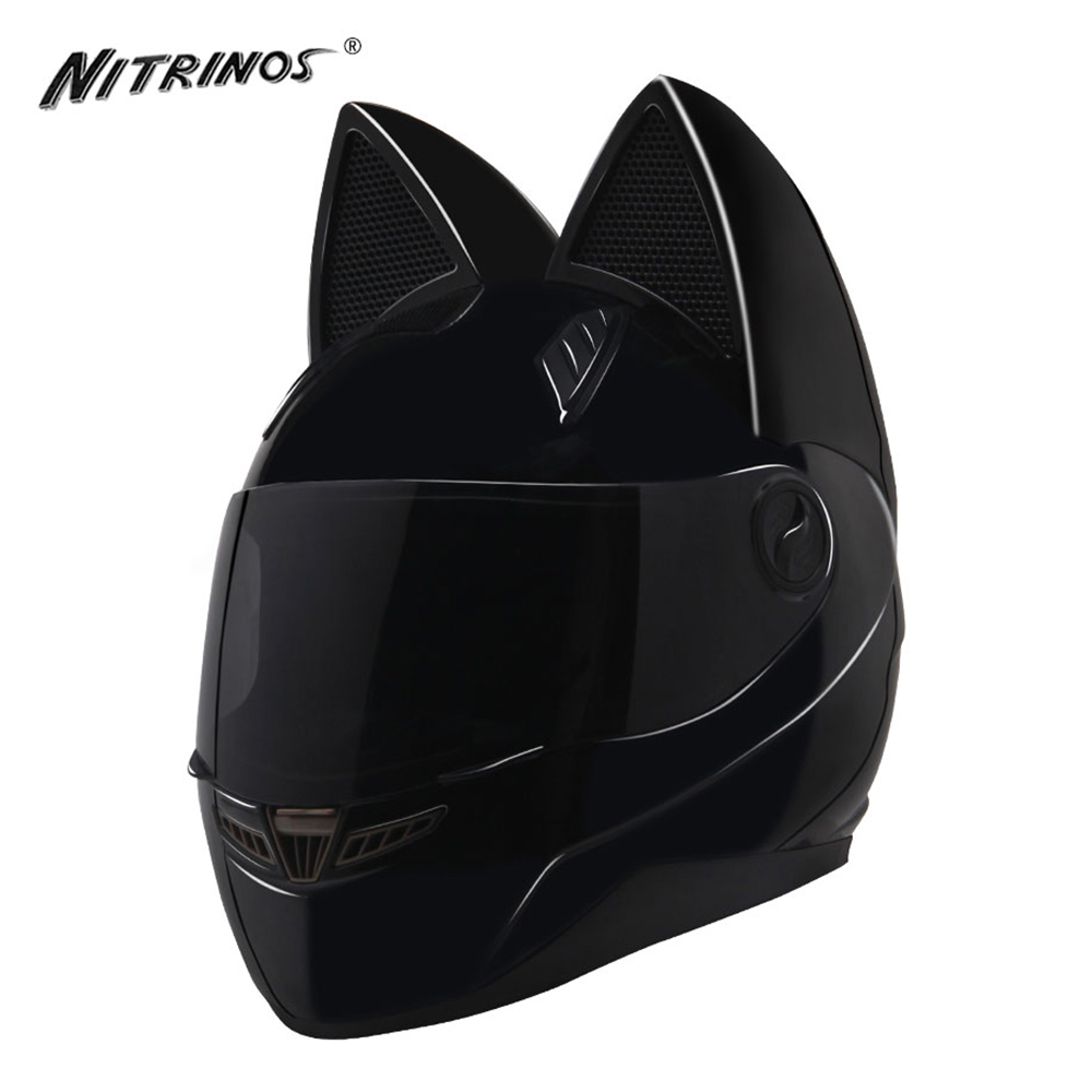 NITRINOS Special Black Motorcycle Helmet Women Capacete Moto Helmet Horns Cat Helmet Casque Moto Casco Racing