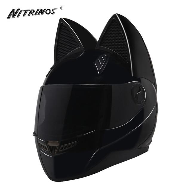 nitrinos noir moto casque femmes capacete moto casque cornes chat casque int gral casque moto. Black Bedroom Furniture Sets. Home Design Ideas