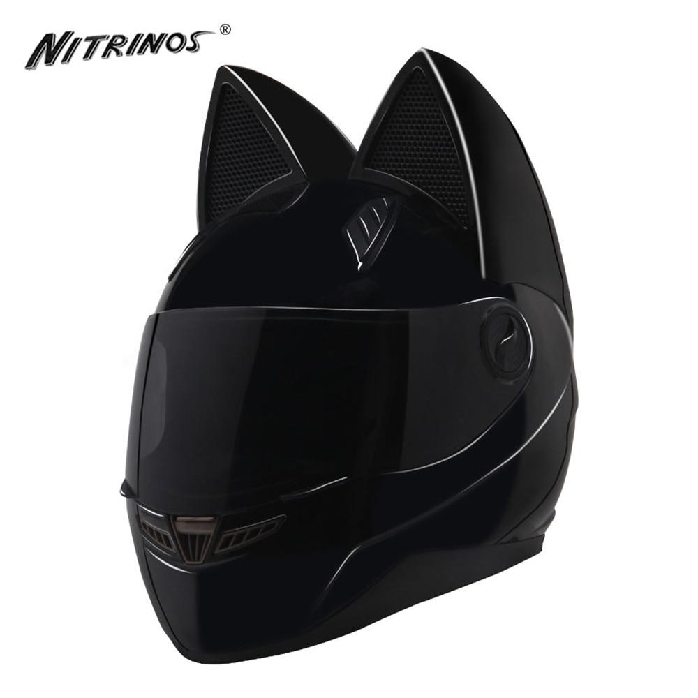 NITRINOS Special Black Motorcycle Helmet Women Capacete Moto Helmet Horns Cat Helmet Casque Moto Casco Racing