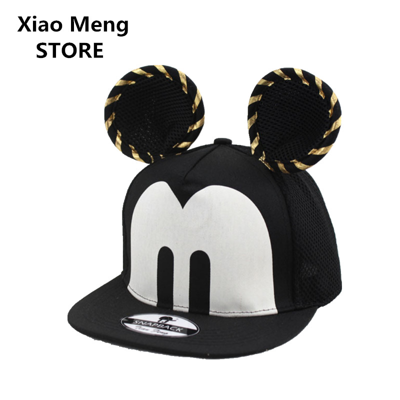 Summer Cartoon Mickey Ears Baseball Cap Unisex Big Ear Snapback Caps Bone Adjustable Children Breathable Mesh Hat Casquette M60 35colors silver gold soild india scarf cap warmer ear caps yoga hedging headwrap men and women beanies multicolor fold hat 1pc