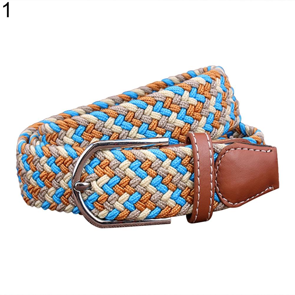 Cinturón de vestir informal elástico cómodo tejido trenzado a la moda para hombres y mujeres