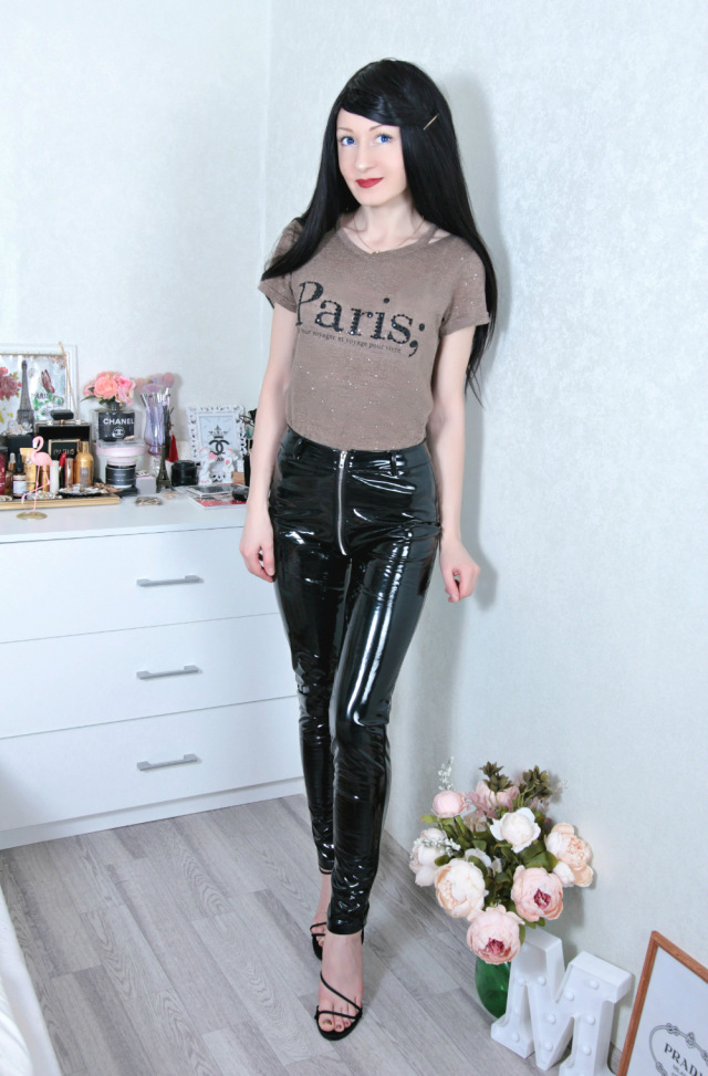 Women Sexy Shiny Pu Leather Leggings With Back Zipper Push Up Faux Leather Pants Latex Rubber Pants Jeggings Black Red photo review