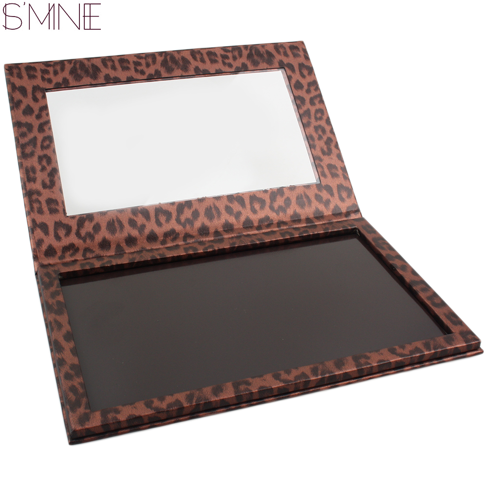 ISMINE DIY vacío leopardo sombra de ojos magnética sartenes con sombra lápiz labial rubor mate gran paleta correctiva una sola sartén