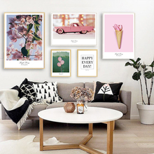 SD LINLEEHON Pink Flower Car Heart Quote Wall Art Canvas Painting Nordic Posters And Prints Pictures For Living Room Decor