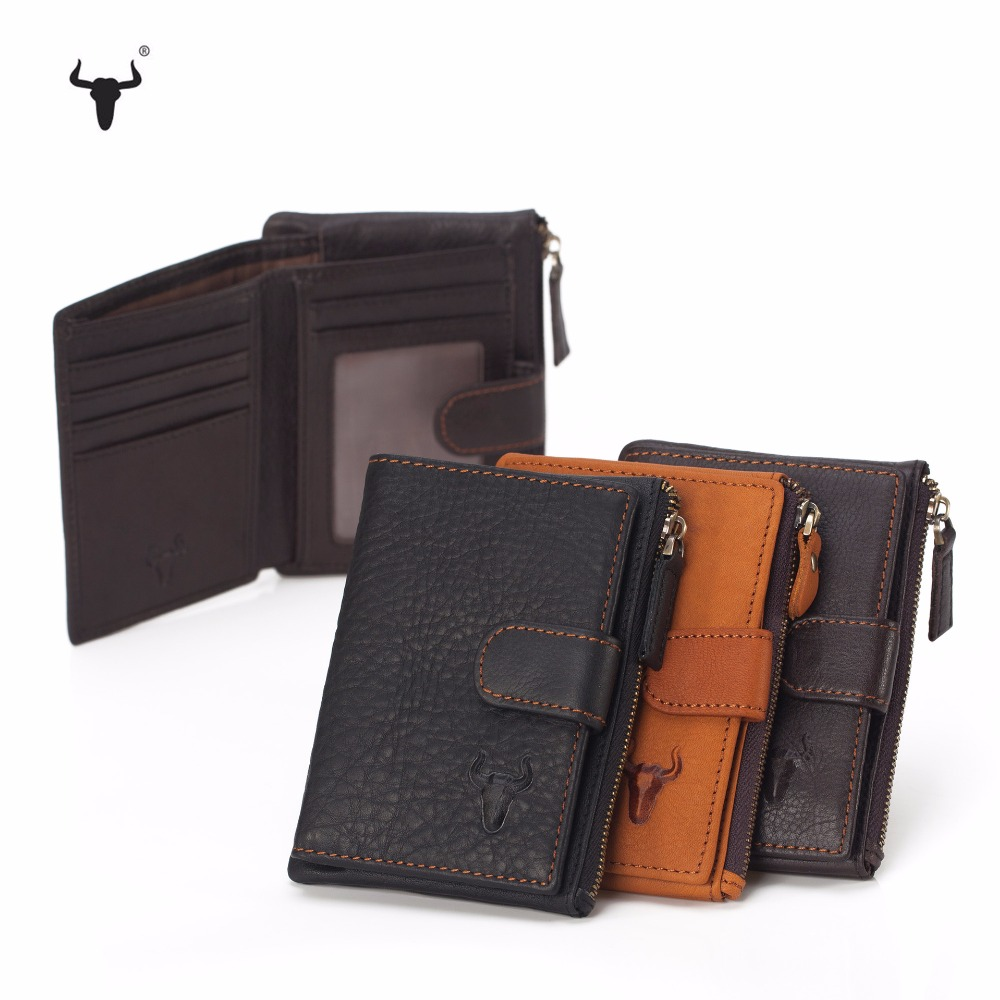 Men Wallet Genuine Leather  Mens Bulls Man Vintage Grazy Horse Cowhide Big Capacity Short Purse With Zipper Coin Pocket
