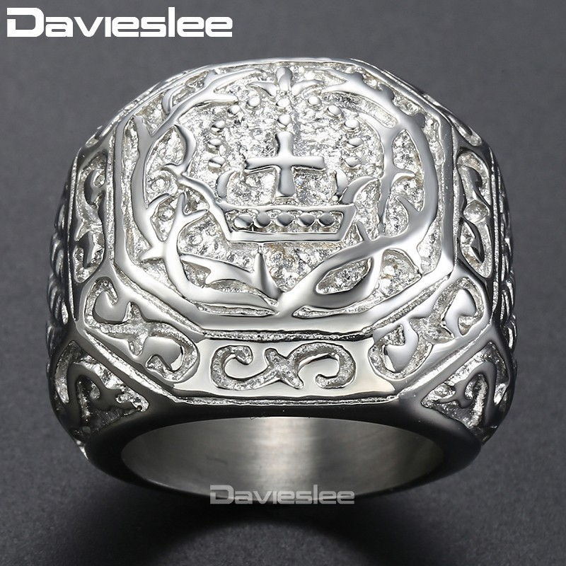 Davieslee Men's Ring Vintage Style 316L Stainless Steel Ring Party Gift Jewelry for Men DLHR141 цена