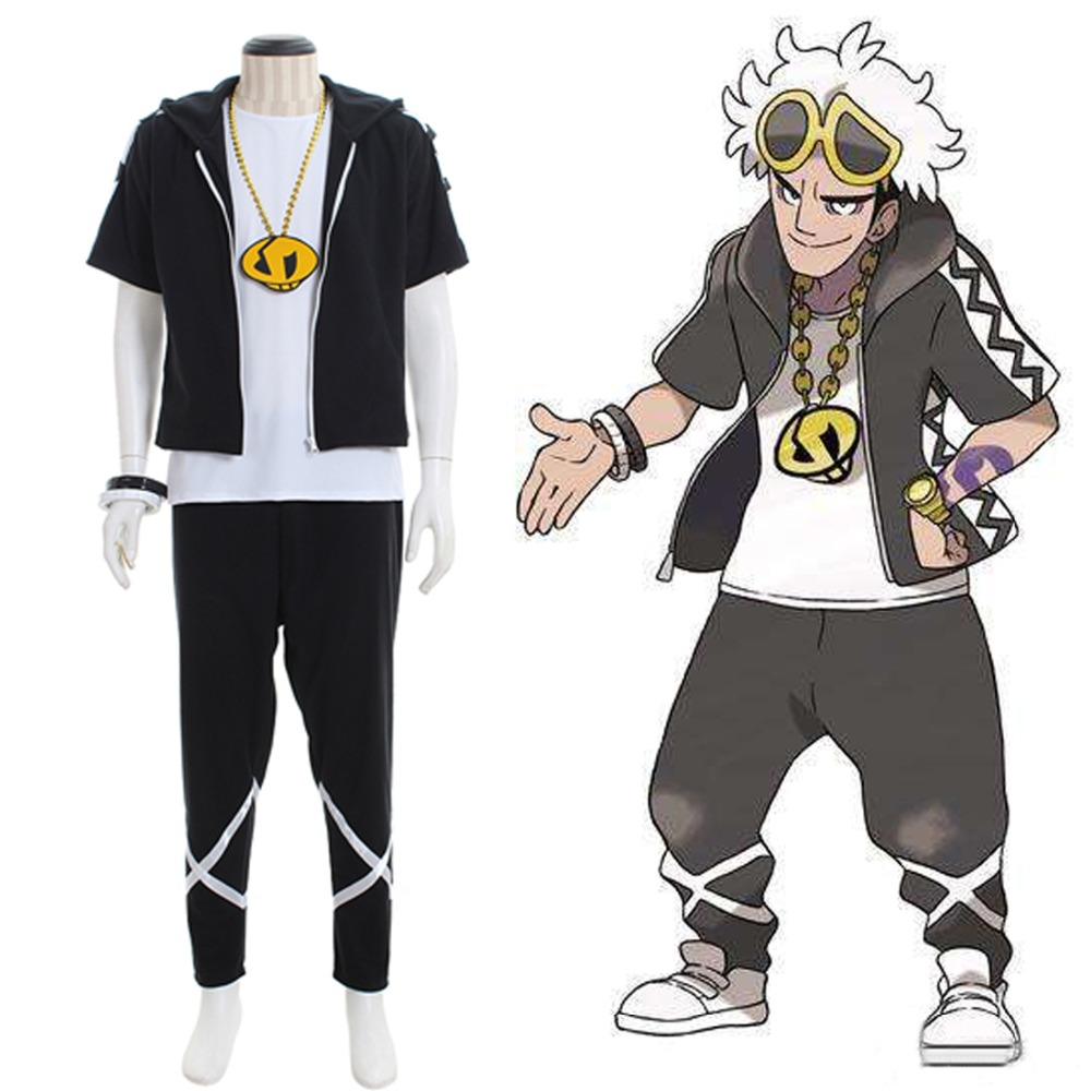 Anime Pocket Monsters Pokemon Sun and Moon Team Skull Grunts Leader Cosplay Costume Adult Men Halloween