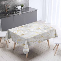 Else Gray White Clouds Golden Yellow Lines Nordec 3d Print Washable Thicken Cotton Cloth Rectangular Square Kitchen Tablecloth