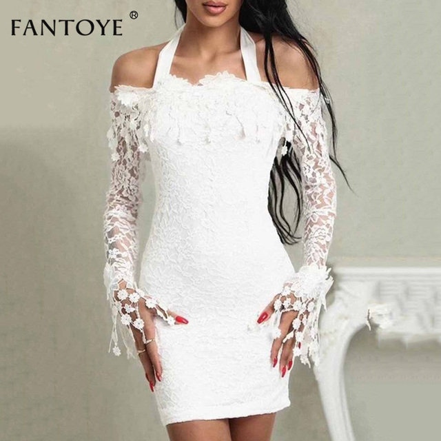 e94361be4177 Fantoye White Halter Fringe Lace Dress Sexy Cold Shoulder Long Sleeve  Bodycon Mini Dress Elegant Evening Party Dress Women