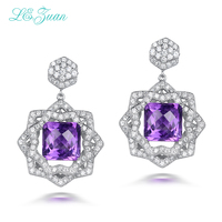 L Zuan 7 54ct Natural Amethyst Real 925 Sterling Silver Jewelry Luxury Earrings For Women Checkerboard