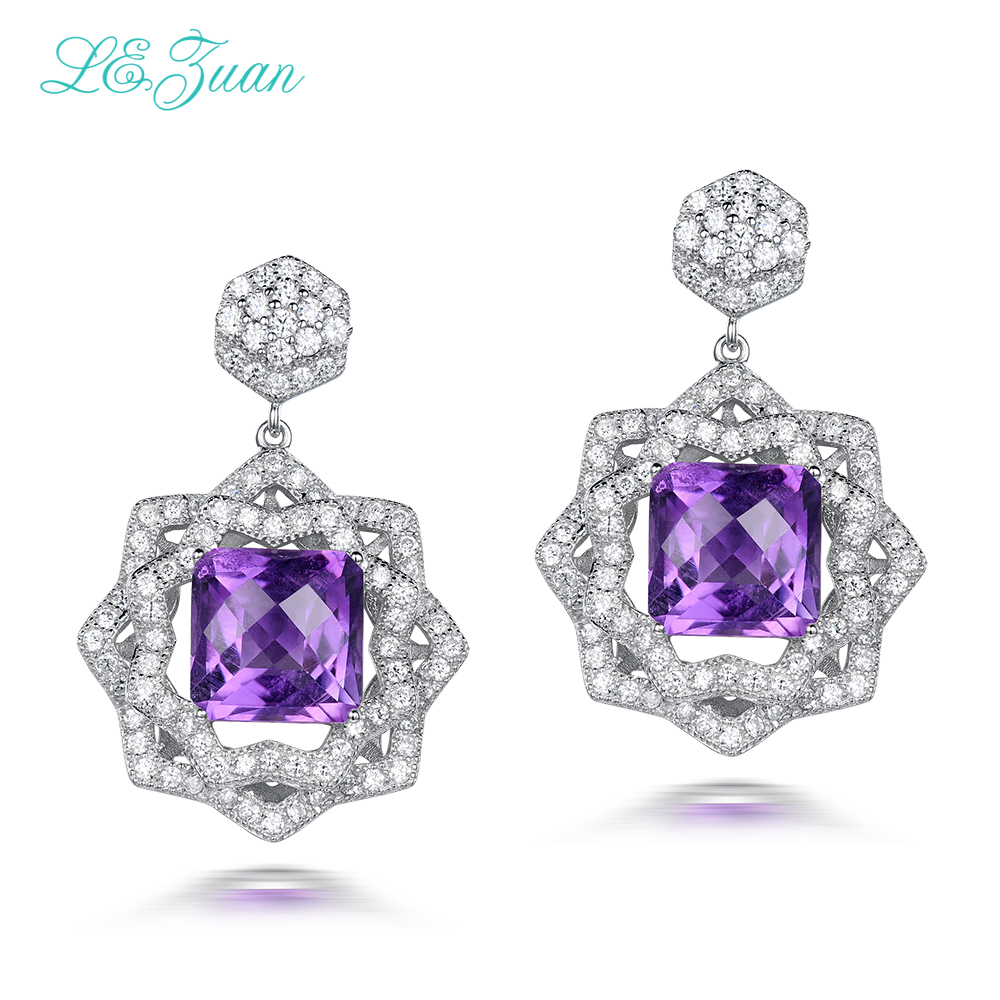 L&zuan 7.54ct Natural Amethyst Fine Jewelry Real 925 Sterling Silver Earrings For Women Checkerboard Cut Gems Earring E0059-W06
