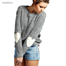 Giraffita Autumn Winter Women Sweaters Heart Pattern Long Sleeve O-Neck Lovely Pullovers Knitted Loose Tops 2017