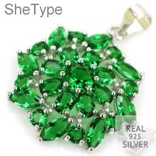 2.9g Elegant Green Emerald Star Shape Ladies Guaranteed Real 925 Solid Sterling Silver Pendant 30x23mm