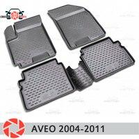Коврики для Chevrolet Aveo 2002 2011 rugs Нескользящие полиуретан грязи защиты внутренних Тюнинг автомобилей аксессуары