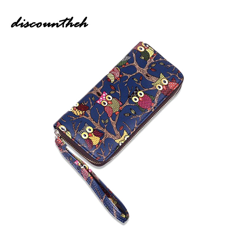 Women Owl Print Wallet New Purse Fashion The Owl Print Zipper Hand Bag With Car Holder Wallet Hand Bag