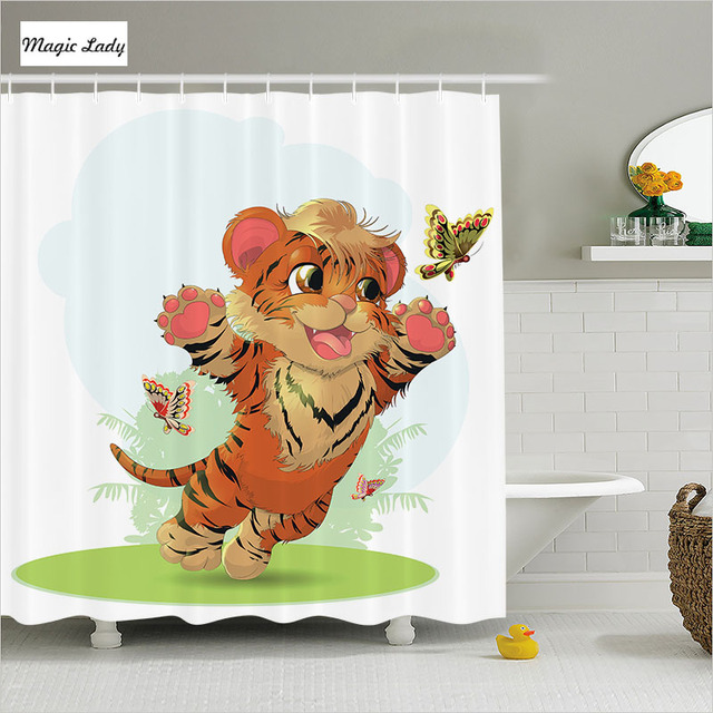 Shower Curtain Funny Bathroom Accessories Cub Butterflies Meadow Baby Tiger  Cat Orange Cream Green 180*