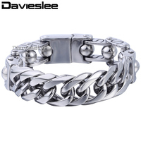 Davieslee 19mm Mens 316L Stainless Steel Bracelet Wristband Bangle Silver Tone Double Curb Cuban Motorcycle Beads