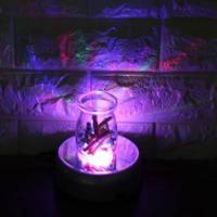 100V 127V AC Adapter Unique Rotating Crystal Display Lamp Base Stand Battery Powered Colorful 7 LED