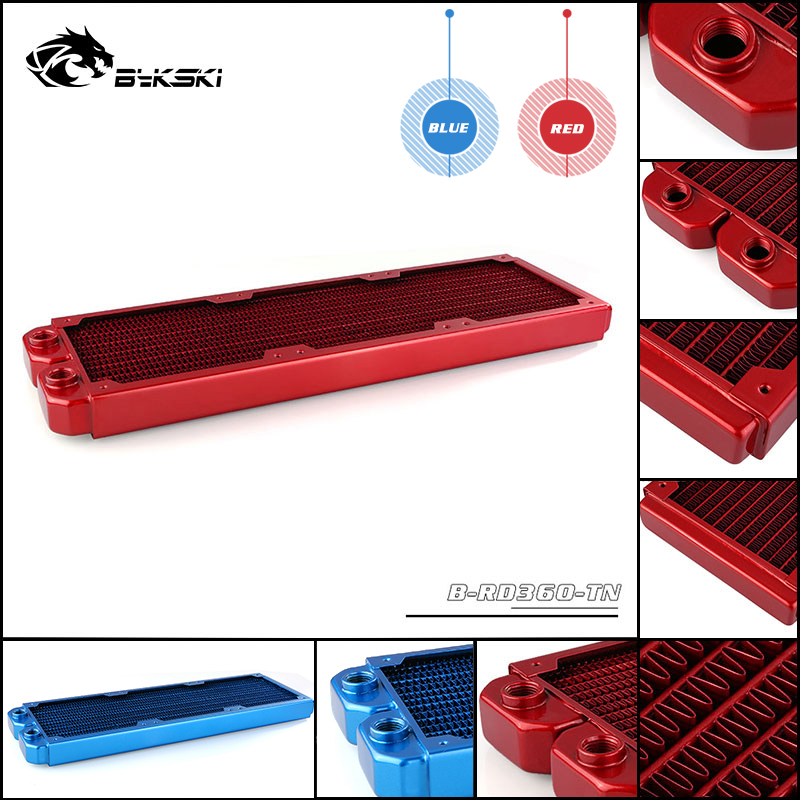 Bykski 360 Pure Copper Colorful Water Cooling Radiator Liquid Heat Exchanger Row Red Blue Heat Sink