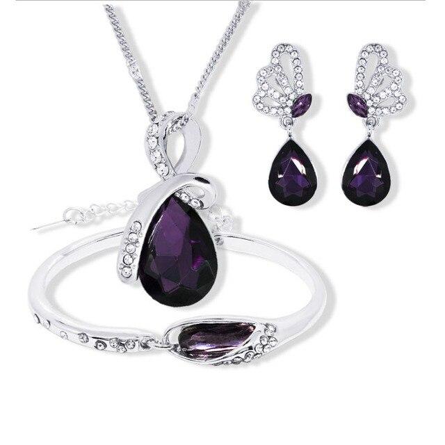 New Wholesale Austrian Crystal Jewelry Sets Water Drop Pendant Necklace Stud Earring Bracelet Silver Plated Jewellery Women 3