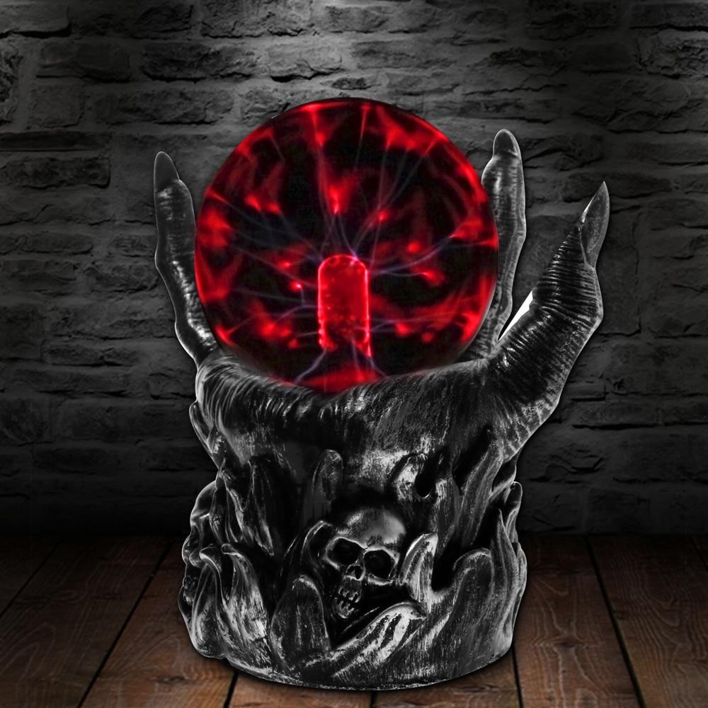 Black Skull Hand Tesla Glass Plasma Ball Resin Lighting Lamp Party Magical Ball Electrostatic Falshing Ball Gift