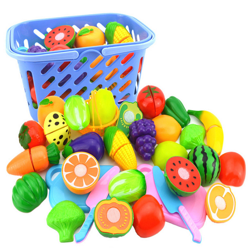 23Pcs/Set Plastic Fruit Vegetables Cutting Toy with Basket Kitchen Pretend Play Early Simulation Educational Toys