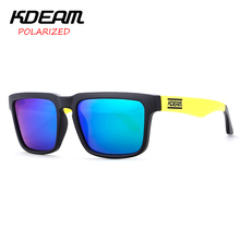 KDEAM Mens Sport Sunglasses Square Polarized Sun Glasses Women Black&Yellow frame HD Blue lens UV400 With Hard Case KD901P-C2