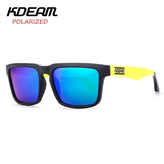 a4fa3448602 KDEAM Mens Sport Sunglasses Square Polarized Sun Glasses Women Black Yellow frame  HD Blue lens UV400 With Hard Case KD901P-C2