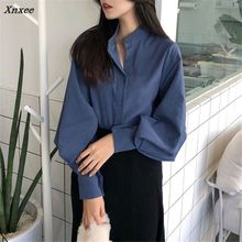 Xnxee Korean Fashion Solid Women Shirts 2018 Retro Single Breasted Stand Collar Female Blusas Spring Casual Blouse 66847