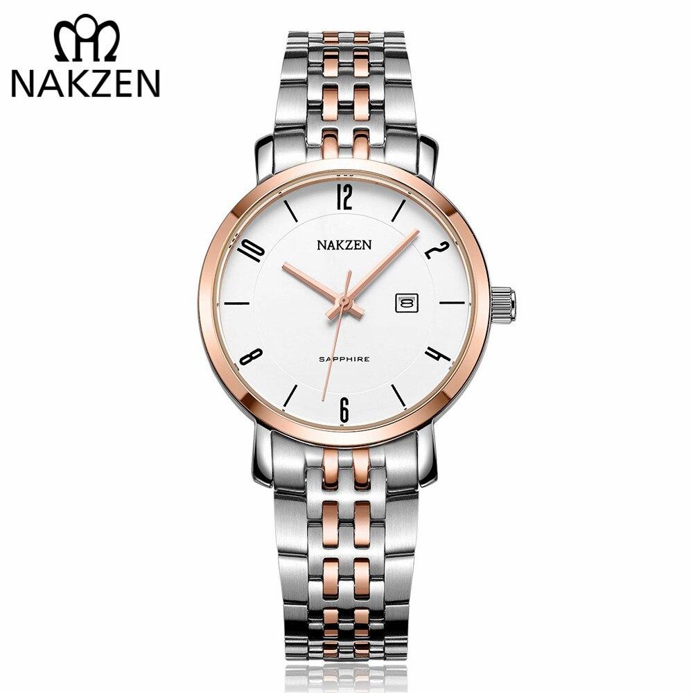 NAKZEN Luxury Tops Brand Women Quartz Wrist Watch Ladies Full Steel Waterproof Watches Female Sapphire Designer Dress Watches