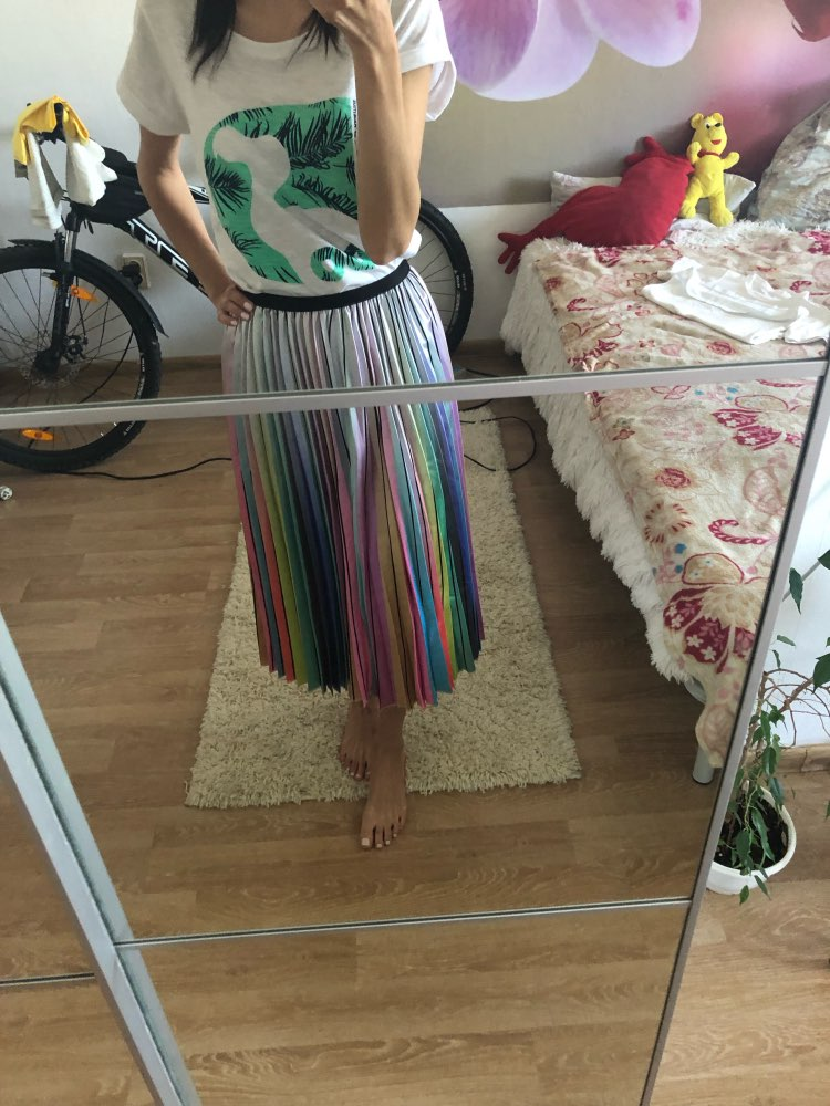 Fashion Contrast High Waist Pleated Skirt Autumn Winter Skirts Womens Elastic Waist A Line Midi Skirt Mid Calf Long Skirts photo review