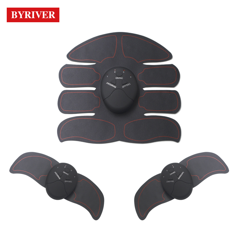 BYRIVER Electric Wireless Abdominal Muscle Stimulator Pad EMS Trainer Vibrating Massager Smart Abs Stimulating Machine Exerciser