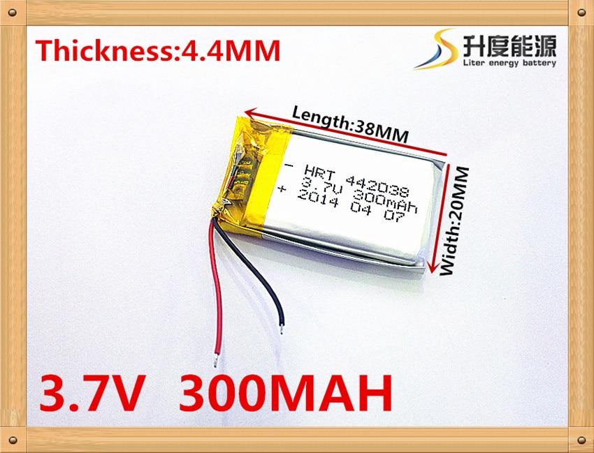 3.7 V, 300 mAH, [442038] batterie lithium-ion/Li-ion polymère pour stylo enregistreur vocal, smartband, montre intelligente; bluetooth, mp3
