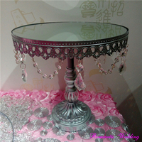 Romantic Wedding Silver Gold White Meal Mirrow Surface Cake Stand Crystal Chandelier Style Cake Stands