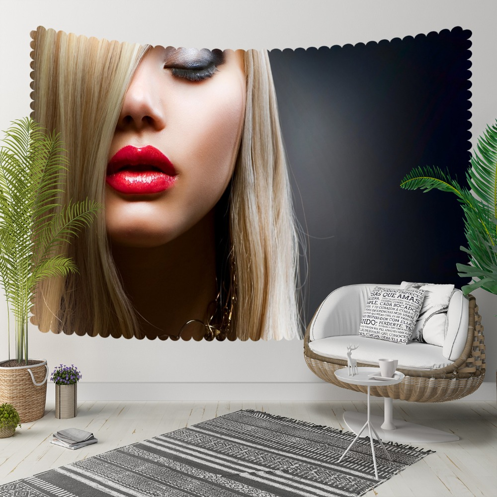 Else Gray Floor On Yellow Hair Women Red Lips Beauty 3D Print Decorative Hippi Bohemian Wall Hanging Landscape Tapestry Wall Art