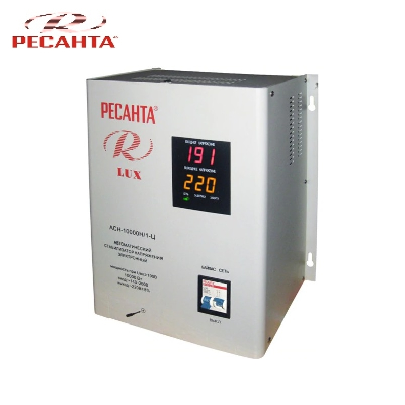 цена на Single phase voltage stabilizer RESANTA ASN-10000N/1-C LUX Relay type Voltage regulator Monophase Mains stabilizer Surge protect