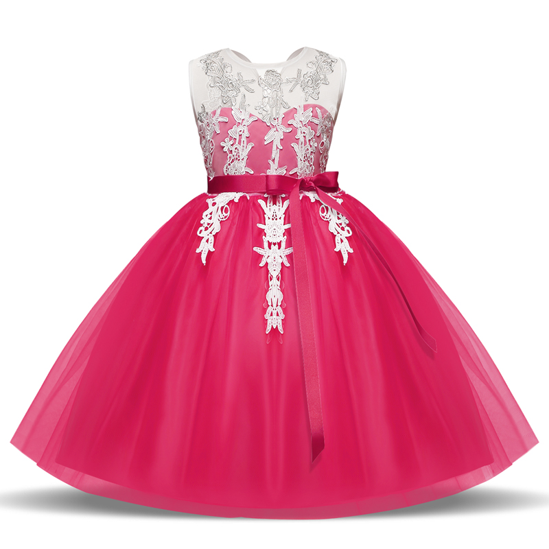 Flower Lace Dresses for Wedding Party Princess Costume Formal Gown Kid Clothes School Children Clothing Party Girl Dress 4 6 8 Y teenage girl party dress children 2016 summer flower lace princess dress junior girls celebration prom gown dresses kids clothes