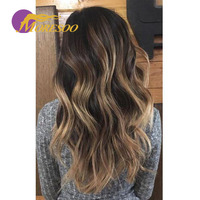 Moresoo Tape in Hair Extensions Real Remy Body Wave Hair Balayage Ombre Color #1B to #3 Brown Highlighted with #27 Blonde 50G
