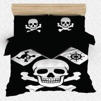 Sonst 6 Stück Schwarz Boden Weiß Pirate Schädel Flagge 3D Druck Baumwolle Satin Doppel Bettbezug Bettwäsche Set Kissen Fall bett Blatt-in Bettbezug aus Heim und Garten bei
