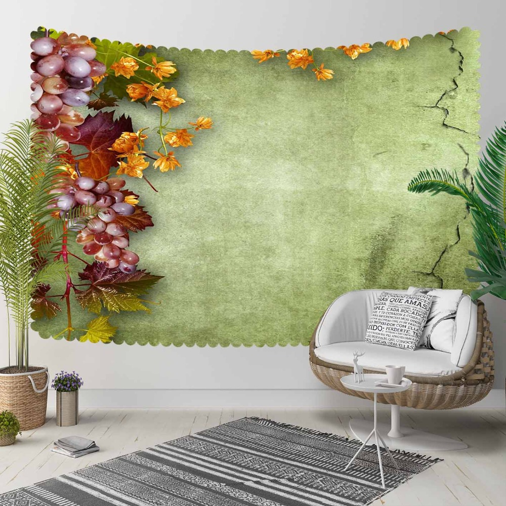 Else Green Floor Purple Grapes Yellow Dried Leaves 3D Print Decorative Hippi Bohemian Wall Hanging Landscape Tapestry Wall Art