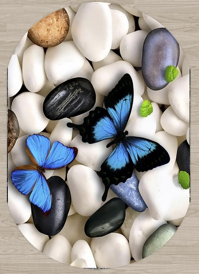 Else White Gray Pebble Stones On Blue Butterfly 3d Print Non Slip Microfiber Living Room Modern Oval Washable Area Rug Carpet